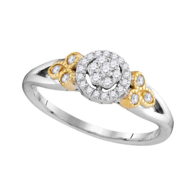 10kt Two-tone Gold Womens Round Diamond Cluster Ring 1/4 Cttw