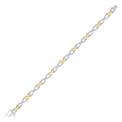 10kt Two-tone Gold Womens Round Diamond Infinity Bracelet 1 Cttw