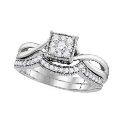 10k White Gold Diamond Flower Cluster Bridal Wedding Ring Band Set 1/3 Cttw
