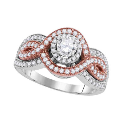 10kt Two-tone Gold Round Diamond Solitaire Bridal Wedding Engagement Ring 1 Cttw