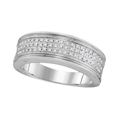 10kt White Gold Mens Round Diamond Triple Row Wedding Anniversary Band Ring 1/4 Cttw