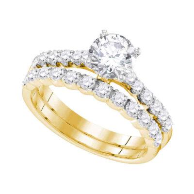 14kt Yellow Gold Round Diamond Bridal Wedding Ring Band Set 2-1/5 Cttw
