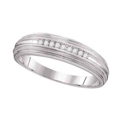 10kt White Gold Mens Round Diamond Ridged Edges Wedding Anniversary Band Ring 1/10 Cttw