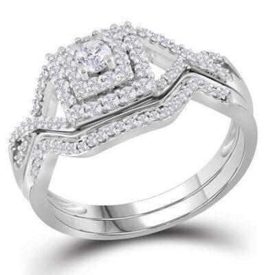 10kt White Gold Round Diamond Bridal Wedding Ring Band Set 1/2 Cttw