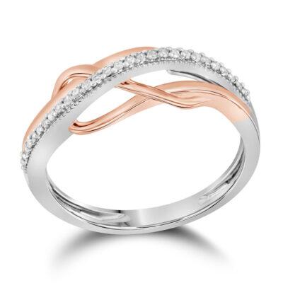 10kt Two-tone Gold Womens Round Diamond Fashion Ring 1/10 Cttw