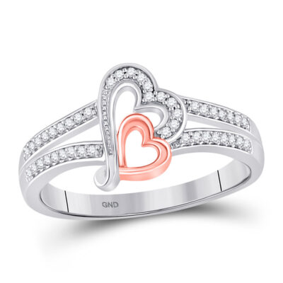 10kt Two-tone Gold Womens Round Diamond Heart Ring 1/10 Cttw
