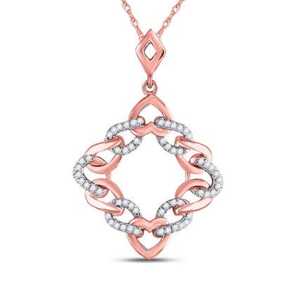 10kt Rose Gold Womens Round Diamond Heart Square Pendant 1/6 Cttw