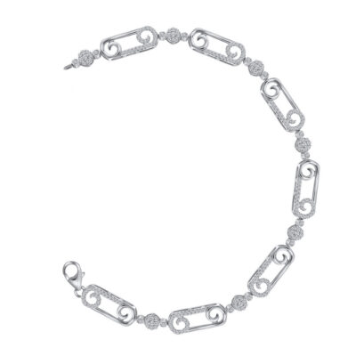 10kt White Gold Womens Round Diamond Scroll Fashion Bracelet 3/4 Cttw
