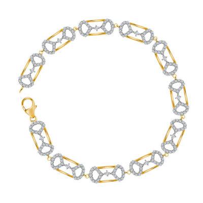 10kt Yellow Gold Womens Round Diamond Fashion Bracelet 1 Cttw