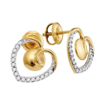 10kt Yellow Gold Womens Round Diamond Heart Earrings 1/4 Cttw