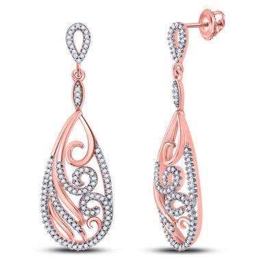 10kt Rose Gold Womens Round Diamond Curl Teardrop Dangle Earrings 1/2 Cttw