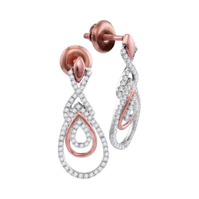 10kt Rose Gold Womens Round Diamond Teardrop Dangle Earrings 3/8 Cttw