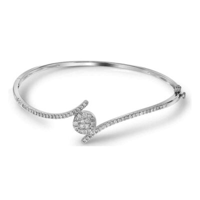 14kt White Gold Womens Princess Round Diamond Bangle Bracelet 3/4 Cttw
