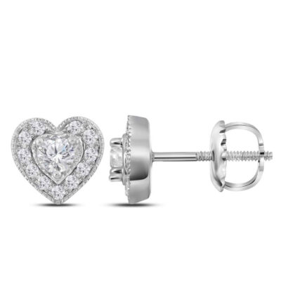 14kt White Gold Womens Round Diamond Heart Earrings 1/3 Cttw