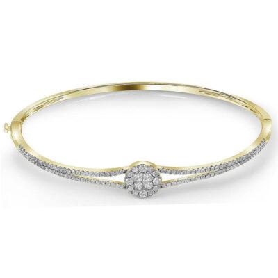 14kt Yellow Gold Womens Princess Round Diamond Bangle Bracelet 1 Cttw