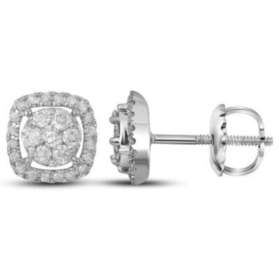 14kt White Gold Womens Round Diamond Flower Cluster Square Frame Earrings 3/8 Cttw