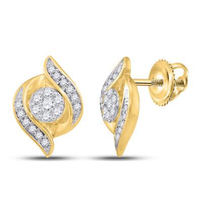 14kt Yellow Gold Womens Round Diamond Flower Cluster Earrings 1/4 Cttw
