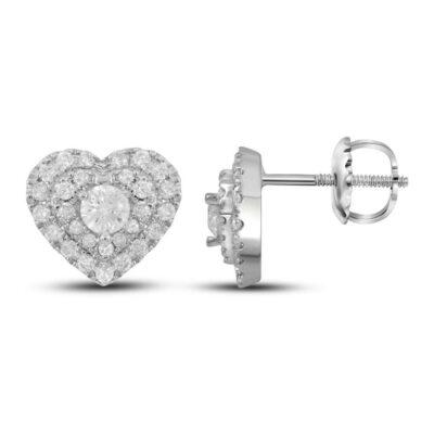 14kt White Gold Womens Round Diamond Heart Earrings 1/2 Cttw