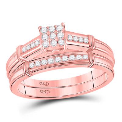 10kt Rose Gold Round Diamond Bridal Wedding Ring Band Set 1/5 Cttw