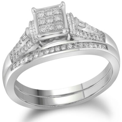 14kt White Gold Round Diamond Bridal Wedding Ring Band Set 1/5 Cttw