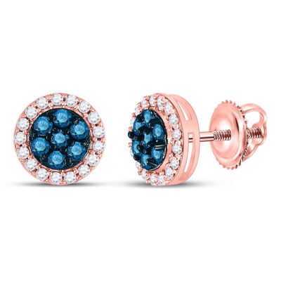 10kt Rose Gold Womens Round Blue Color Enhanced Diamond Flower Cluster Earrings 1/2 Cttw