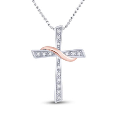 10kt Two-tone Gold Womens Round Diamond Cross Pendant 1/20 Cttw