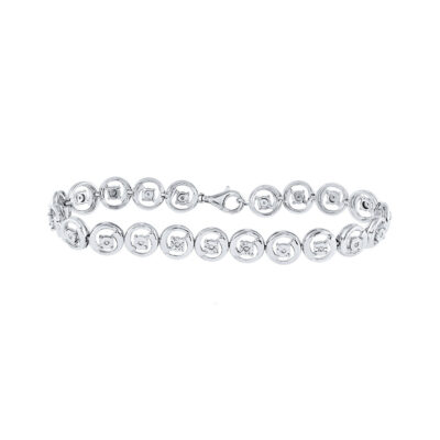 Sterling Silver Womens Round Diamond Fashion Bracelet 1/6 Cttw