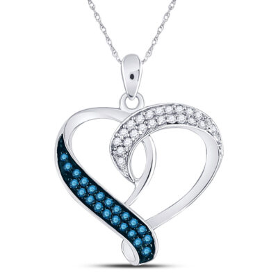 Sterling Silver Womens Round Blue Color Enhanced Diamond Heart Pendant 1/5 Cttw