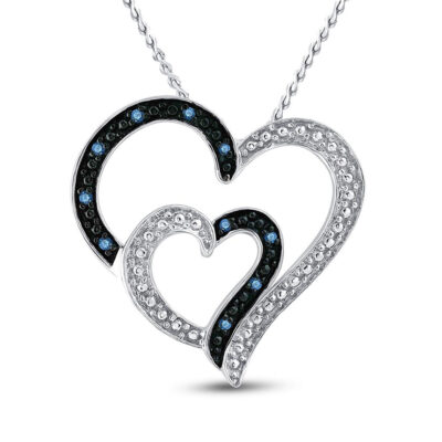 Sterling Silver Womens Round Blue Color Enhanced Diamond Heart Pendant 1/20 Cttw
