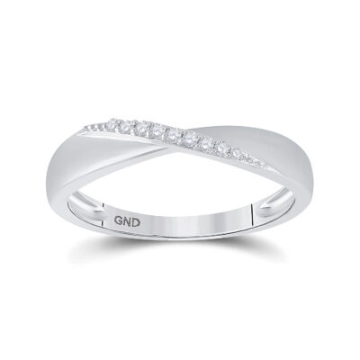 Sterling Silver Womens Round Diamond Band Ring 1/20 Cttw
