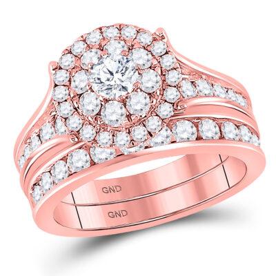 14kt Rose Gold Round Diamond Bridal Wedding Ring Band Set 1-3/4 Cttw
