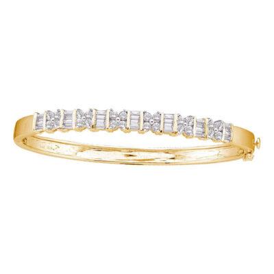 14kt Yellow Gold Womens Round Diamond Bangle Bracelet 2 Cttw