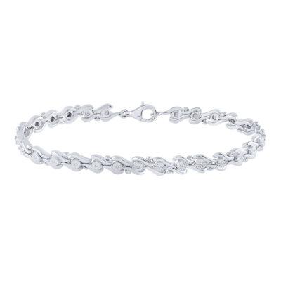 Sterling Silver Womens Round Diamond Fashion Bracelet 1/10 Cttw