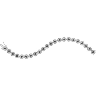 Sterling Silver Womens Round Black Color Enhanced Diamond Fashion Bracelet 1/10 Cttw