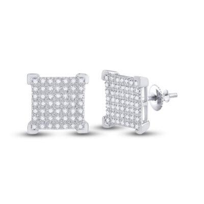 10kt White Gold Mens Round Diamond Square Earrings 1/4 Cttw