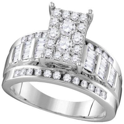 10kt White Gold Round Diamond Cluster Bridal Wedding Engagement Ring 7/8 Cttw Size 10