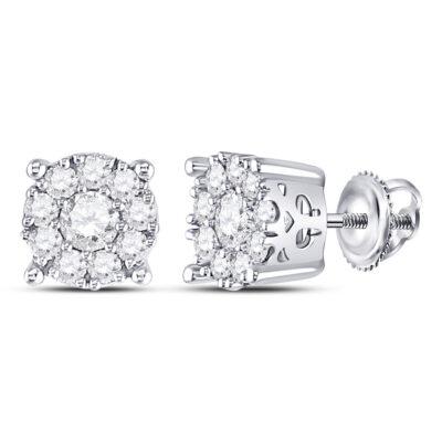 14kt White Gold Womens Round Diamond Cluster Stud Earrings 1 Cttw