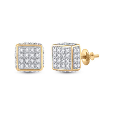 10kt Yellow Gold Mens Round Diamond 3D Square Stud Earrings 1/4 Cttw
