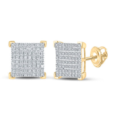 10kt Yellow Gold Mens Round Diamond Square Earrings 1/3 Cttw