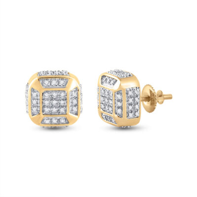 10kt Yellow Gold Mens Round Diamond Cushion Cluster Earrings 1/4 Cttw