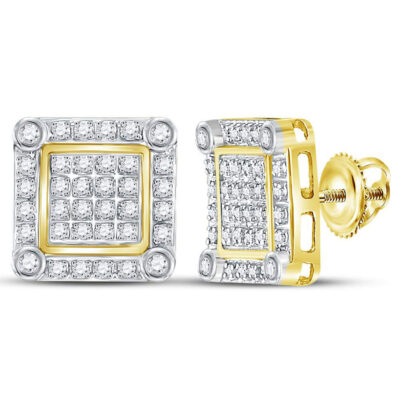10kt Yellow Gold Mens Round Diamond Square Earrings 1/4 Cttw
