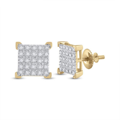 10kt Yellow Gold Mens Round Diamond Square Earrings 1/6 Cttw