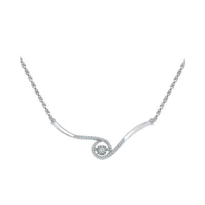 10kt White Gold Womens Round Moving Diamond Fashion Necklace 1/5 Cttw