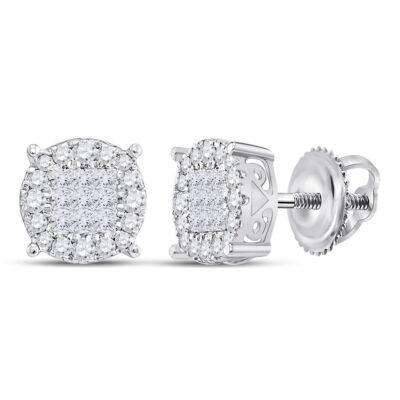 14kt White Gold Womens Princess Diamond Fashion Cluster Earrings 1/4 Cttw