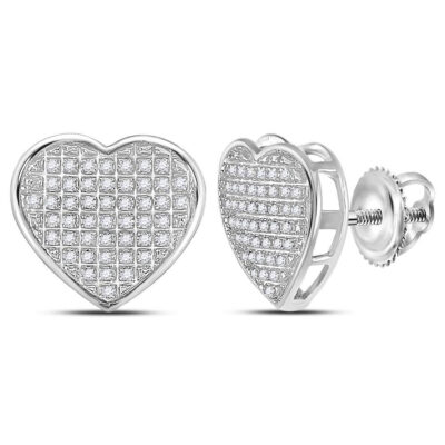 Sterling Silver Womens Round Diamond Heart Earrings 1/3 Cttw