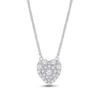 10kt White Gold Womens Round Diamond Heart Necklace 1/2 Cttw