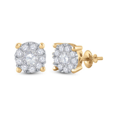 14kt Yellow Gold Womens Round Diamond Halo Earrings 3/4 Cttw