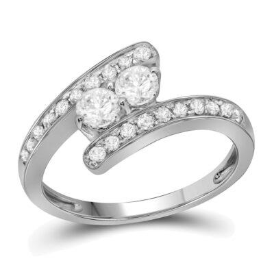 10kt White Gold Round Diamond 2-stone Bridal Wedding Engagement Ring 3/4 Cttw