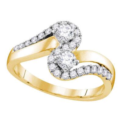 10kt Yellow Gold Diamond 2-Stone Engagement Bridal Ring 3/4 Cttw