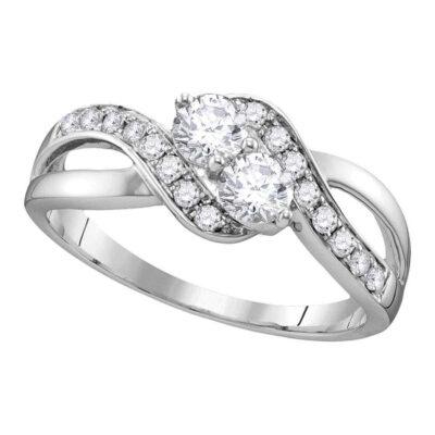 10kt White Gold Round Diamond 2-stone Bridal Wedding Engagement Ring 5/8 Cttw